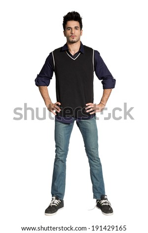 full length portrait of a young man with his hands on the waist  - stock photo
