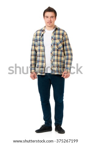 Full length portrait of a young modern man, isolated on white background - stock photo