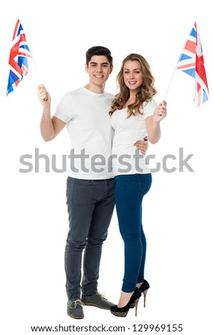 Full length portrait of a young patriotic couple.
