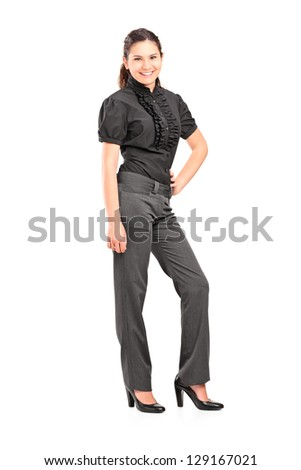 Full length portrait of a young professional woman posing isolated on white background - stock photo