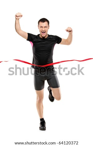 Full length portrait of a young runner at the finish line isolated on white background - stock photo