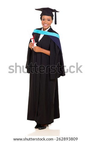 full length portrait of african female graduate isolated on white - stock photo