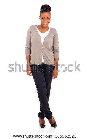 full length portrait of afro american woman isolated on white background - stock photo