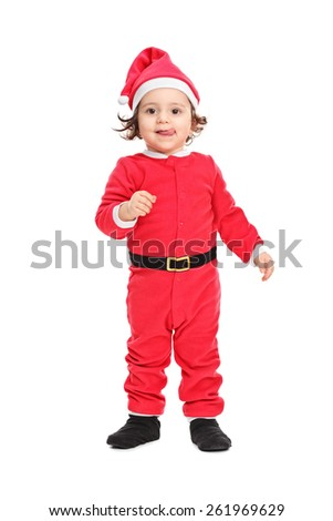 Full length portrait of an adorable little girl in Christmas costume isolated on white background - stock photo