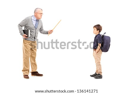 Full length portrait of an angry teacher shouting at a schoolboy, isolated on white background - stock photo
