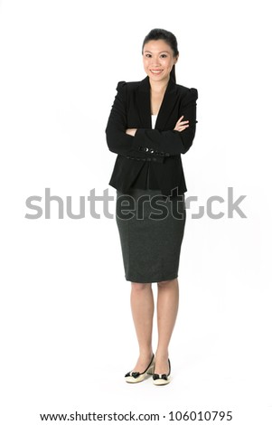 Full length portrait of an Asian Business woman standing. Isolated on white background. - stock photo