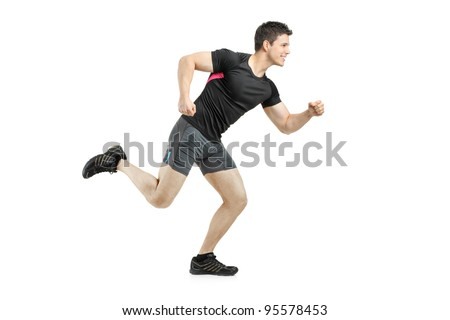 Full length portrait of an athlete running isolated on white background - stock photo