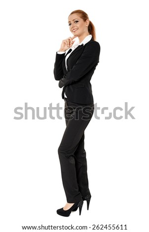 Full length portrait of an attractive young businesswoman over white - stock photo