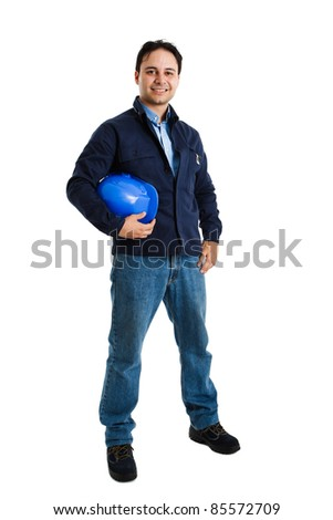 Full-length portrait of an handsome engineer - stock photo