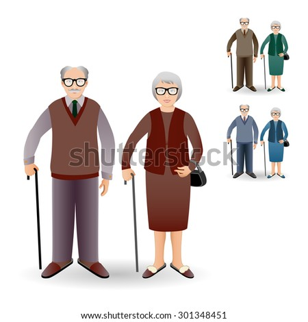 Full length portrait of an handsome old man standing with cane and nice old woman standing with cane. Family. Grandfather and grandmother. Realistic image. - stock photo