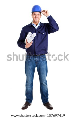Full length portrait of an handsome worker - stock photo