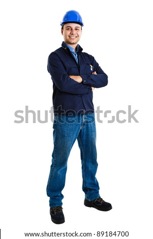Full-length portrait of an handsome worker - stock photo