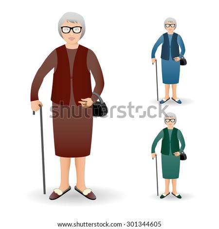 Full length portrait of an nice old woman standing with cane isolated on white background.Realistic image.Full body woman isolated on white background. - stock photo