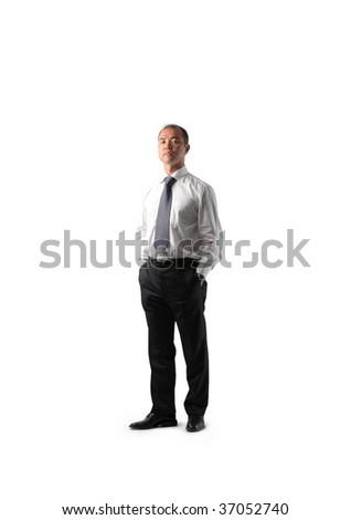 full length portrait of asian businessman - stock photo
