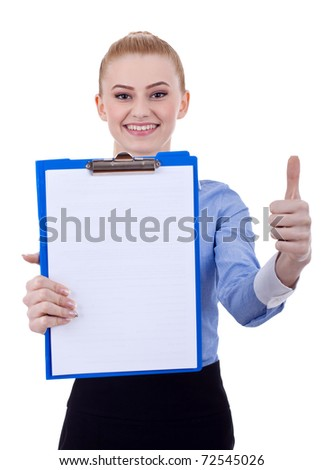 Full length portrait of attentive modern business woman with clipboard and thumbs up - stock photo