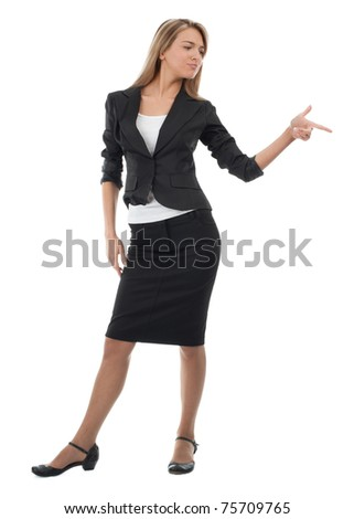 Full length portrait of attractive businesswoman pointing her finger, isolated on white