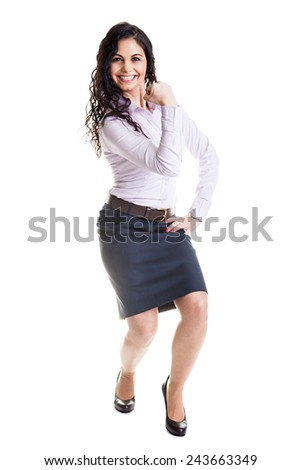 Full length portrait of attractive businesswoman white background - stock photo