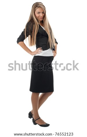 Full length portrait of attractive businesswoman with long blond hair, isolated on white background