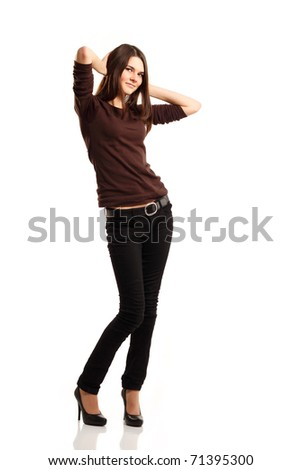 full length portrait of attractive friendly smiling teenager girl isolated on white background