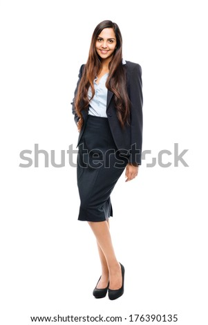 Full length portrait of attractive Indian businesswoman on white background