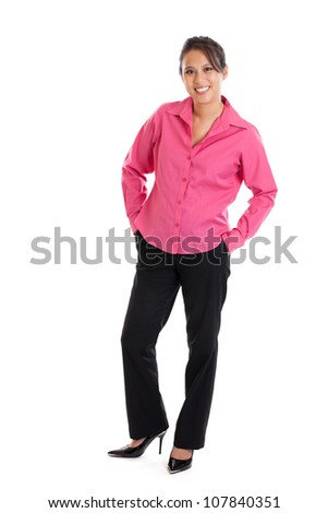 Full length portrait of attractive late 30s smart casual Asian woman portrait isolated on white - stock photo