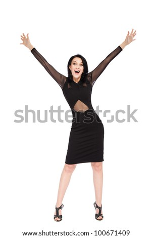 full length portrait of attractive smile excited woman holding arms hands up, isolated over white background concept of happy, pretty winning success girl - stock photo