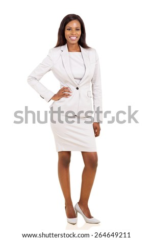full length portrait of beautiful african business woman posing on white - stock photo