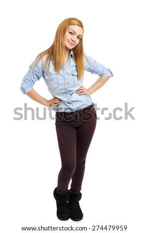 Full length portrait of beautiful teenage girl smiling isolated on white background - stock photo
