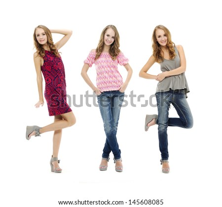 Full length portrait of beautiful three blonde girl in jeans posing - stock photo