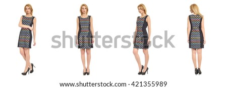 Full length portrait of beautiful woman in  dress - stock photo