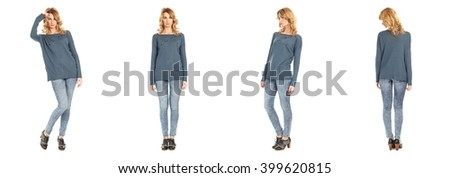 Full length portrait of beautiful woman in jeans - stock photo
