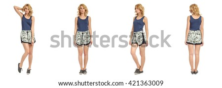 Full length portrait of beautiful woman in  shorts