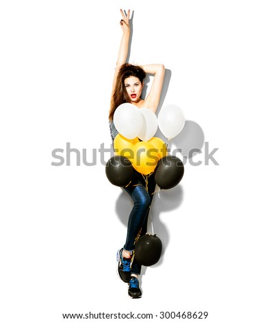 Full length portrait of Beauty fashion model girl with colorful balloons isolated on white background. Party, holiday celebration. Beautiful woman - stock photo