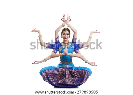 Full length portrait of Bharatanatyam dancer with multiple mudras over white background - stock photo