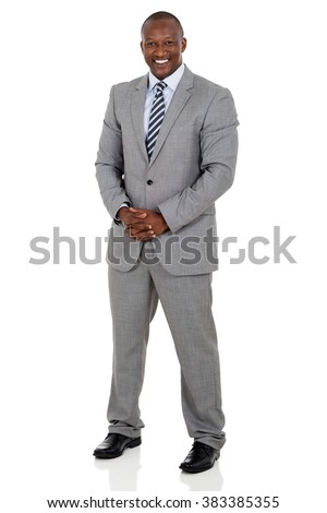 full length portrait of black business man isolated on white - stock photo