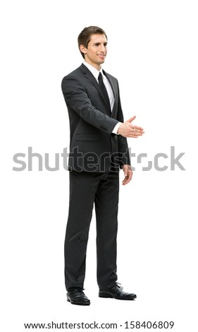Full-length portrait of business man handshake gesturing, isolated on white. Concept of leadership and cooperation - stock photo