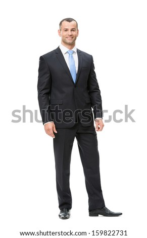 Full-length portrait of business man, isolated. Concept of leadership and success - stock photo