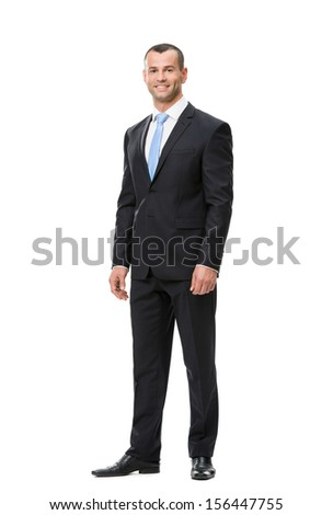 Full-length portrait of business man, isolated on white. Concept of leadership and success - stock photo