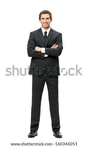 Full-length portrait of business man with hands crossed, isolated. Concept of leadership and success - stock photo