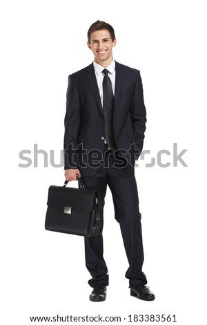 Full-length portrait of businessman handing briefcase, isolated on white. Concept of business and success