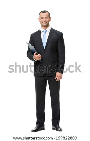 Full-length portrait of businessman handing folder, isolated on white. Concept of leadership and success - stock photo