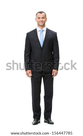 Full-length portrait of businessman, isolated. Concept of leadership and success - stock photo
