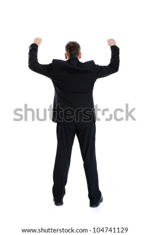Full length portrait of businessman standing back with arms wide open, isolated - stock photo