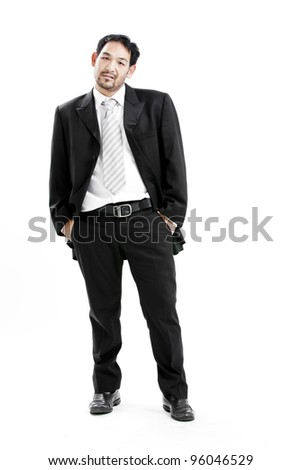Full length portrait of businessman standing with his hands in the pockets. - stock photo