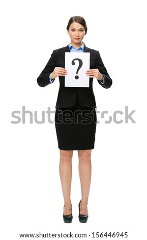 Full-length portrait of businesswoman handing question mark, isolated on white. Concept of problem and solution - stock photo