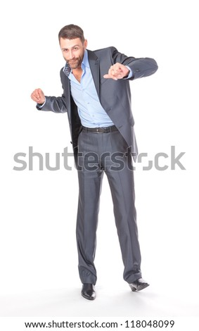 Full length portrait of cheerful business man, over white background