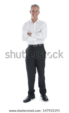 Full length portrait of confident businessman arms crossed isolated over white background - stock photo