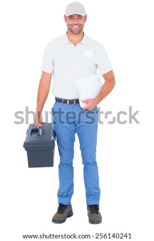 Full length portrait of confident male technician with toolbox and clipboard on white background - stock photo