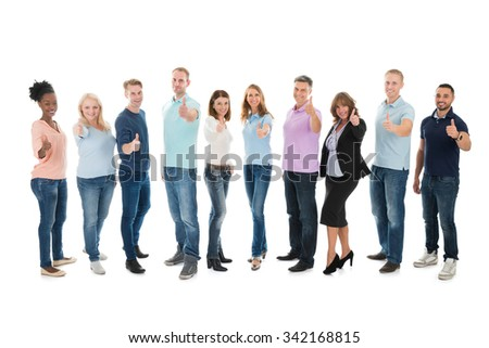 Full length portrait of creative business people standing together against white background - stock photo