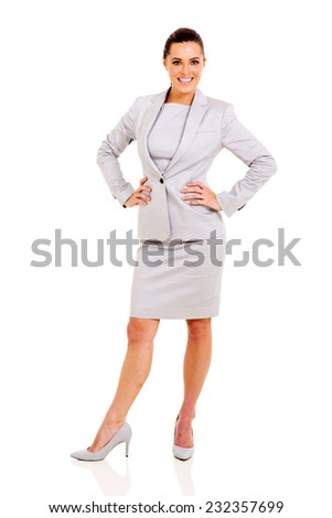 full length portrait of cute career woman posing on white - stock photo